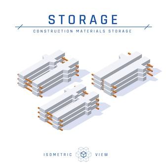 Almacenamiento de columnas de hormigón, vista isométrica en estilo plano.