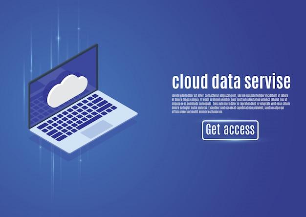Almacenamiento de datos en la nube, alojamiento web, ilustración del servidor isométrico en una computadora de fondo azul.