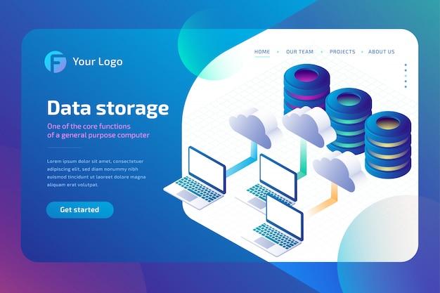 Almacenamiento de datos en la nube y concepto de almacenamiento en la nube. plantilla de página de aterrizaje. isométrica