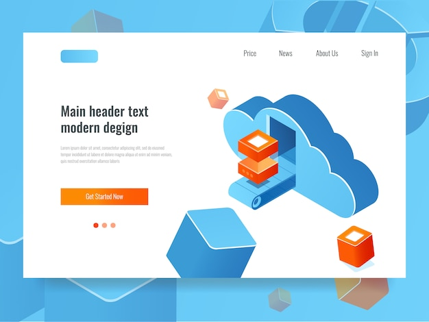 Almacenamiento de datos en la nube, sala de servidores remotos, nube con transportador y bloque de datos