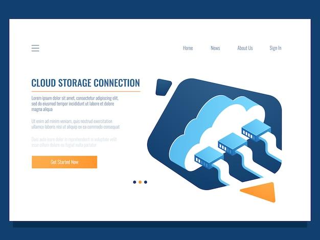Almacenamiento de datos en la nube, tecnología remota, conexión de red, acceso a archivos compartidos para el equipo