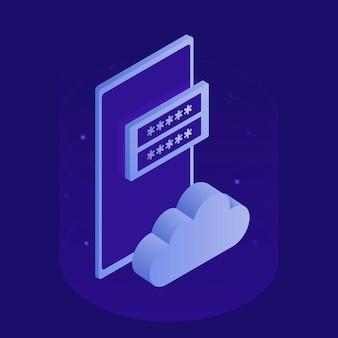 Almacenamiento de datos públicos de la corporación, acceso a archivos, sala de servidores moderna, teléfono inteligente, icono de la nube, formulario de registro. ilustración isométrica moderna