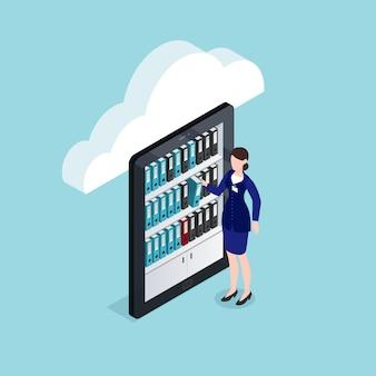 Almacenamiento de documentos en la nube de diseño isométrico