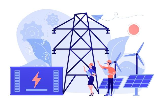 Almacenamiento de energía de la batería de una central solar renovable y eólica