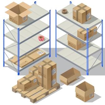 Almacenamiento isométrico 3d del servicio de correos. conjunto de envases de cartón, correo con cintas adhesivas