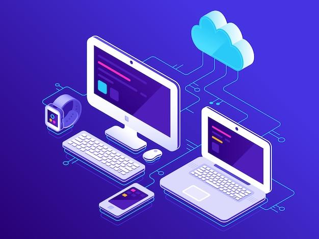 Almacenamiento en la nube, dispositivos informáticos conectados a la pc del servidor de datos