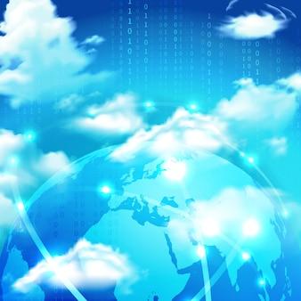 Almacenamiento en la nube en el globo terráqueo