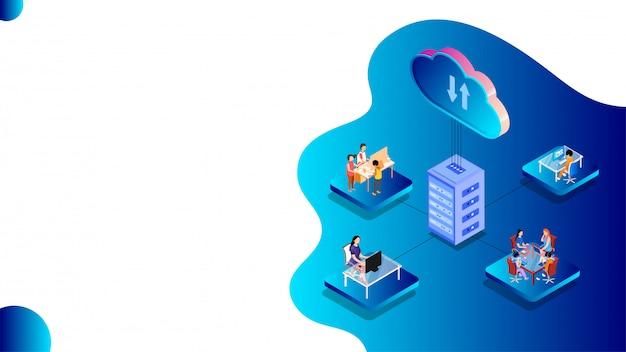 Almacenamiento en la nube o concepto de intercambio de datos.