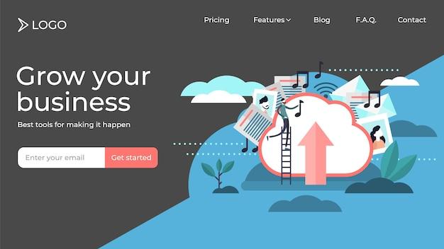 Almacenamiento en la nube personas pequeñas ilustración vectorial diseño de plantilla de página de destino