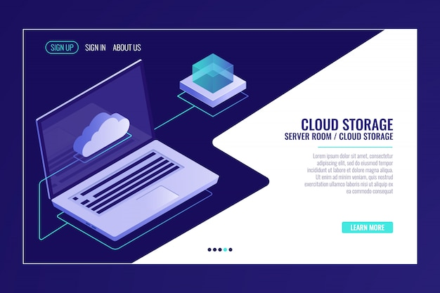 Almacenamiento remoto de datos, tecnología de sistema en la nube, computadora portátil abierta con ícono de nube