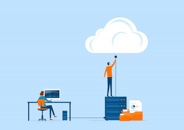Almacenamiento de tecnología y concepto de conexión a la nube con