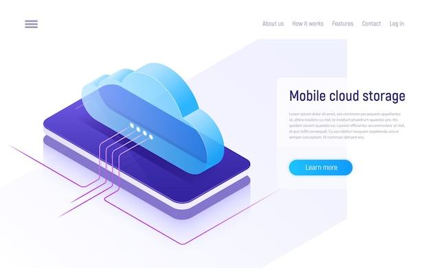 Almacenamiento y tecnología en la nube, alojamiento web, concepto isométrico de copia de seguridad de datos.