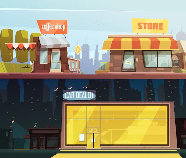 Almacene las banderas horizontales de los edificios fijadas con la ilustración aislada del vector de la historieta de los símbolos del distribuidor de coche
