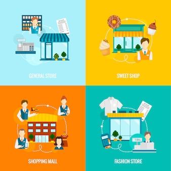 Almacene la composición de los elementos planos de los edificios fijada con la ilustración general del vector del centro comercial de la moda dulce