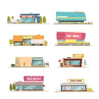 Almacene los edificios con el centro comercial y los dibujos animados de símbolos de la tienda local aislados ilustración vectorial