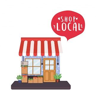 Almacene con el estante de verduras y compre el diseño de burbujas dentro del local de la compra minorista y el tema del mercado