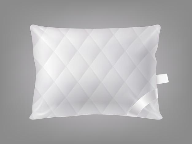 Almohada cuadrada cómoda cosida realista 3d. plantilla, maqueta de cojín mullido blanco
