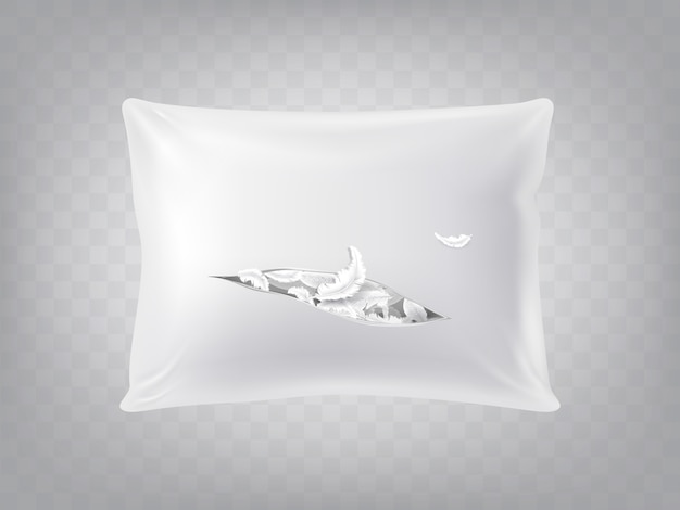 Almohada cuadrada rasgada realista 3d aislada en fondo translúcido. plantilla, maqueta de blanco