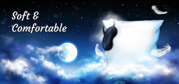 Almohada con los ojos vendados en el cielo nocturno con luna llena