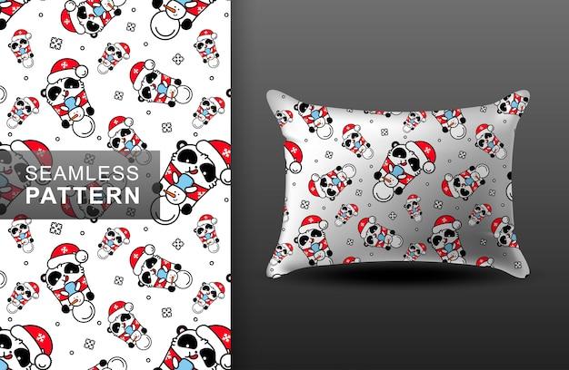 Almohada de patrones sin fisuras de panda de navidad