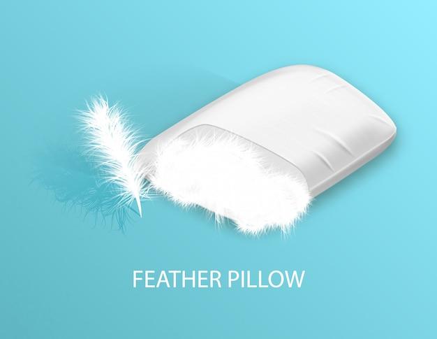 Almohada de pluma blanca ortopédica. sueño saludable.