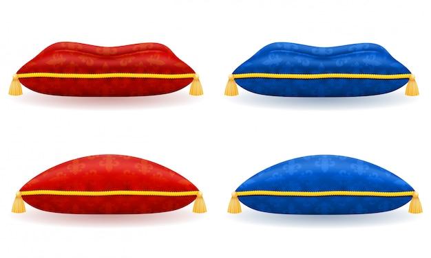 Almohada de satén azul rojo con cuerda de oro y borlas ilustración vectorial