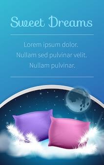 Almohada suave rosada y púrpura en el fondo y el texto de la galaxia.