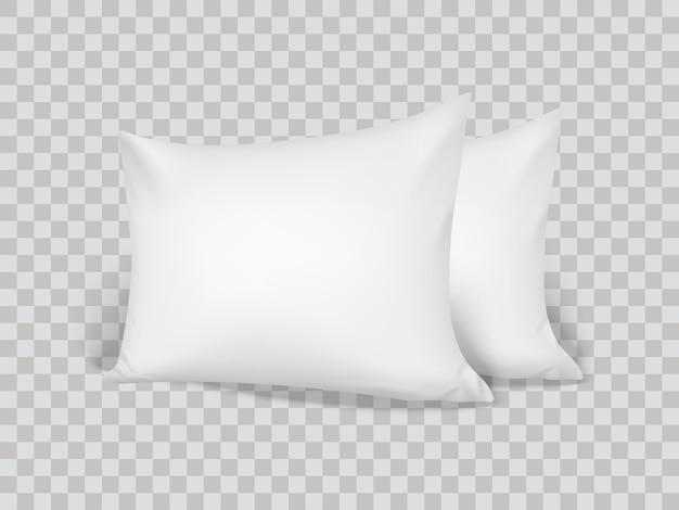 Almohadas blancas 3d realistas. de cerca. vista frontal