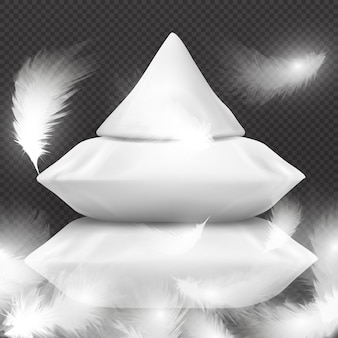 Almohadas blancas realistas y plumas voladoras