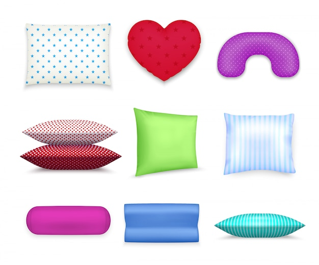 Almohadas cojines coloridos conjunto realista