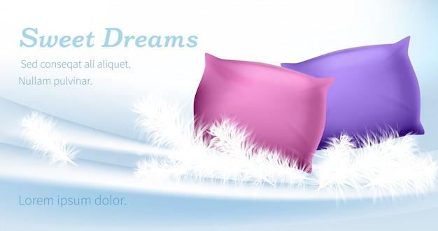 Almohadas de color rosa y púrpura de pie sobre plumas blancas