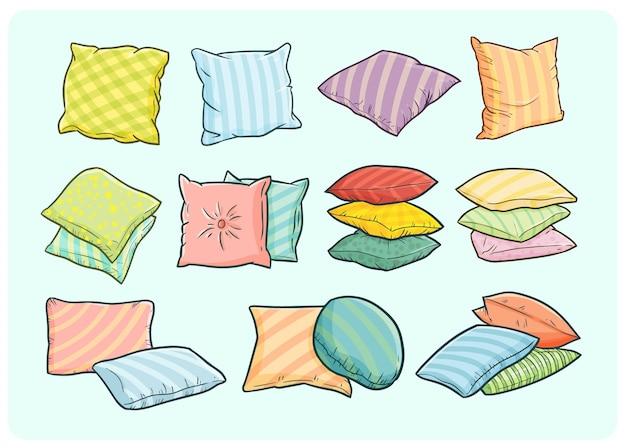 Almohadas divertidas y lindas en estilo simple doodle