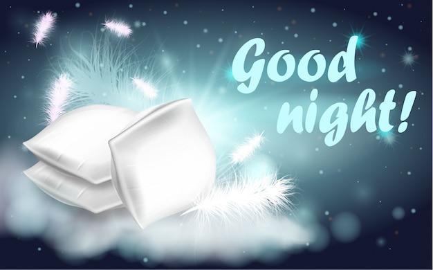 Almohadas de plumas escritas buenas noches banner de dibujos animados