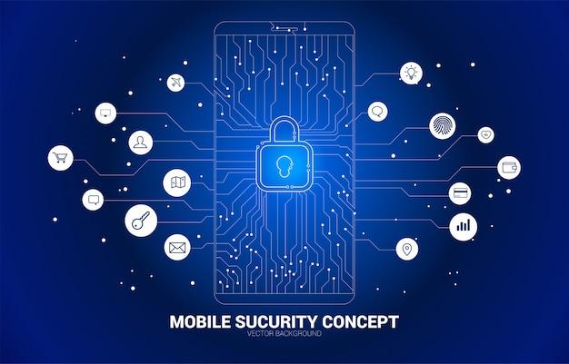 Almohadilla de bloqueo de vector en el móvil del estilo de placa de circuito de punto y línea. concepto de seguridad móvil y acceso a la privacidad.