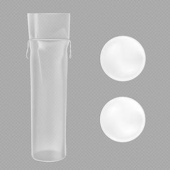 Almohadillas de algodón blanco y paquete transparente.
