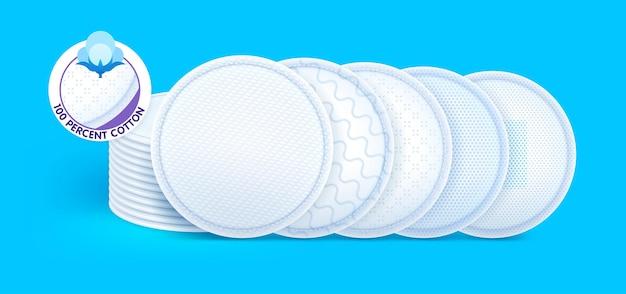 Almohadillas de algodón cosmético con diferentes texturas e iconos para el cuidado de la piel.