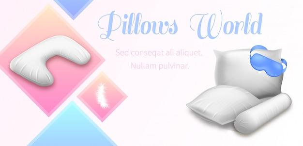 Almohadillas en blanco para cuadrados, rollo y cuello con los ojos vendados
