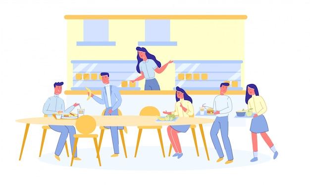 Almuerzo en la cafetería de la universidad, cantina con estudiantes.
