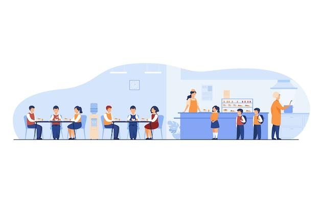 Almuerzo en el concepto de cafetería escolar. niños y niñas adolescentes comiendo en el comedor o cafetería de la escuela, de pie en el mostrador para comprar comida. para catering, buffet, vacaciones escolares, temas de instalaciones.