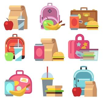 Almuerzo escolar cajas de comida y bolsas de niños iconos planos. fiambrera para almorzar, sándwich de desayuno.