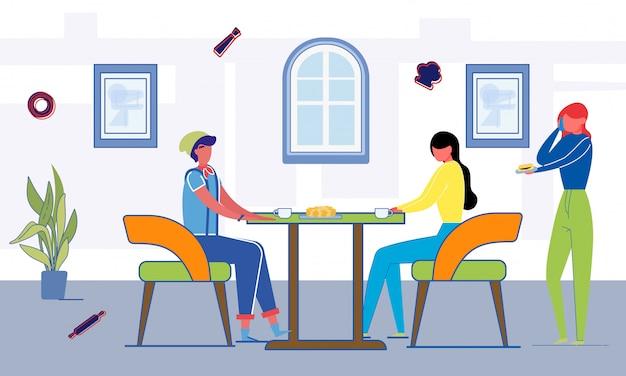 Almuerzo estudiantil en la cafetería de la universidad o la universidad.