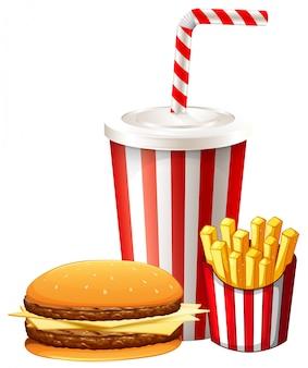 Almuerzo con hamburguesa y papas fritas.