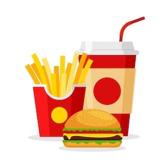 Almuerzo con papas fritas, hamburguesa y refresco en estilo plano. quite la comida rápida. menú de restaurante de comida chatarra