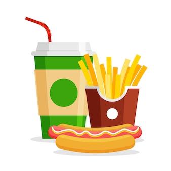 Almuerzo con papas fritas, hot dog y refresco. quite la comida rápida. menú de restaurante de comida chatarra.
