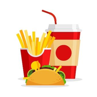 Almuerzo con tacos de papas fritas y refrescos en un moderno estilo plano restaurante de comida rápida para llevar menú de comida chatarra