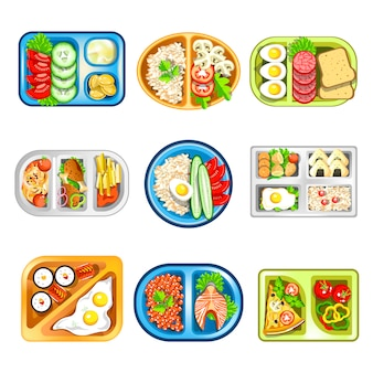 Almuerzos nutritivos complejos en convenientes bandejas de plástico.