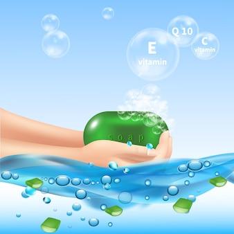 Aloe vera conceptual con manos humanas sosteniendo gotas de agua jabonosa y burbujas con texto editable