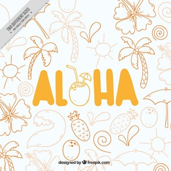 Aloha, fondo dibujado a mano