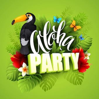 Aloha hawaii. letras de mano con flores exóticas. ilustración