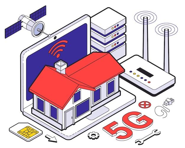 Alojamiento web composición isométrica de cinco g con red inalámbrica en el hogar y servicios en la nube para el trabajo